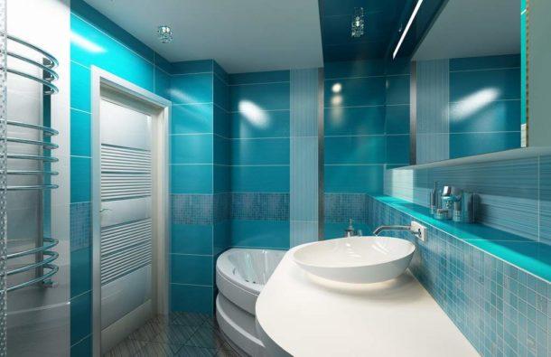 Ванная в лазурно-голубом цвете