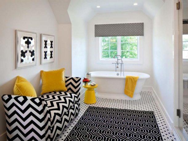 Яркие акценты в черно-белой ванной