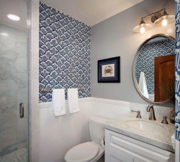 Акцентирование зон в ванной с туалетом