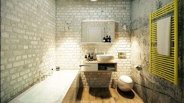 Вариант лофтовой палитры: белый кирпич, бетон, дерево, один-два ярких акцента