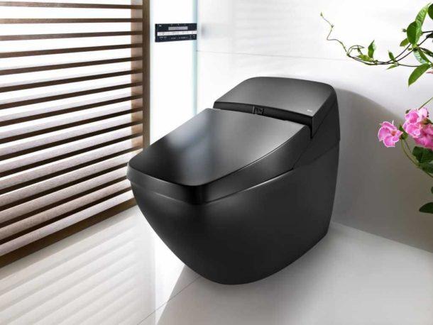 Черный унитаз - смелое решение для туалета скромных размеров