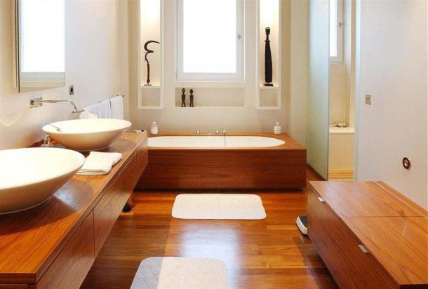 Деревянная столешница, экран для ванны, тумбочка