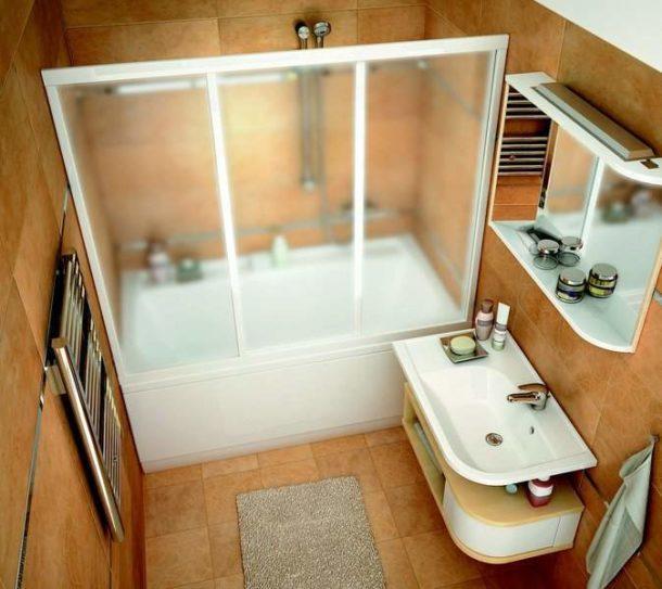 Дизайн маленькой отдельной ванной без унитаза