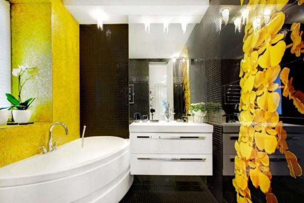 Дизайн ванной с использованием мозаики