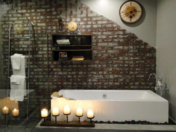 Ванная комната, оформленная в стиле лофт