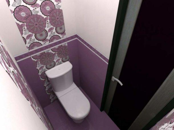 Использование фиолетовых тонов в оформлении туалета