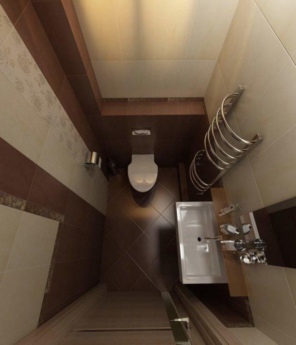 Небольшой туалет в коричнево-бежевом цвете