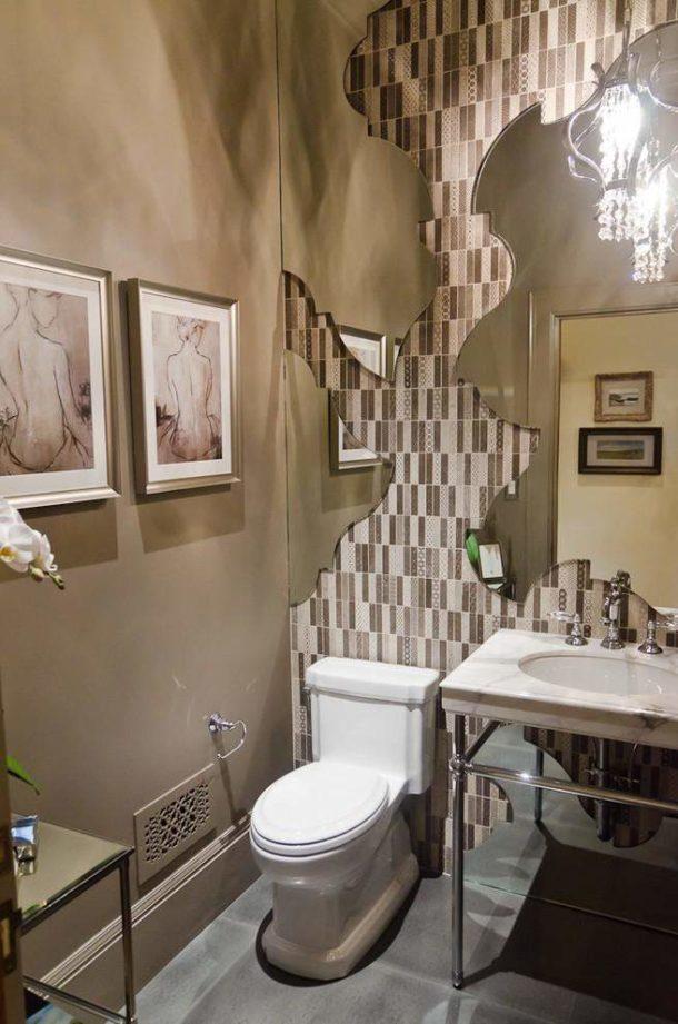Комбинирование разных материалов в отделке туалета