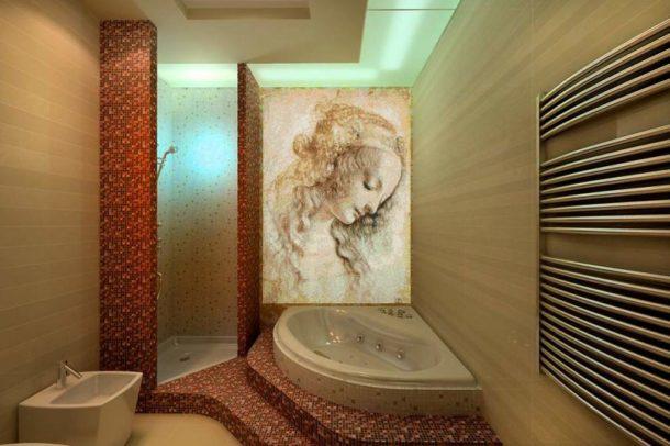 Мозаичная фреска в ванной