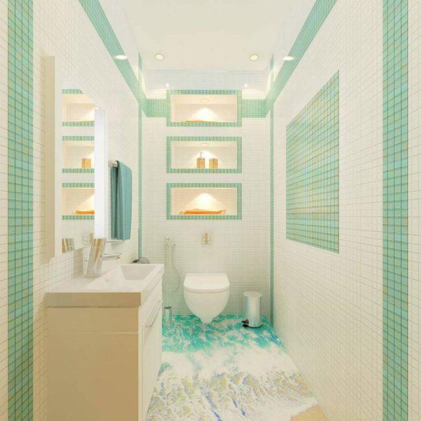 Мозаика на стенах и наливной пол с 3D рисунком