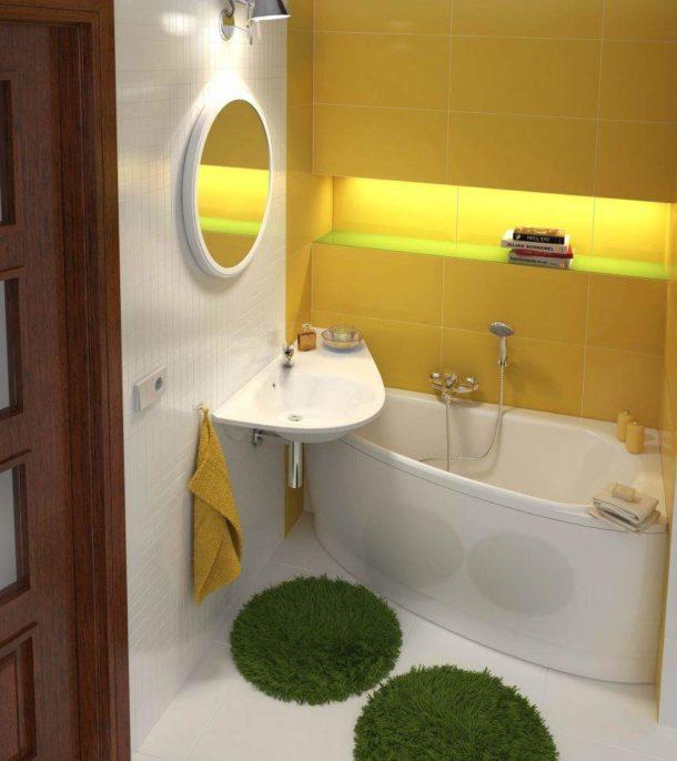 Угловая сидячая ванна - хорошее решение для помещения скромных размеров