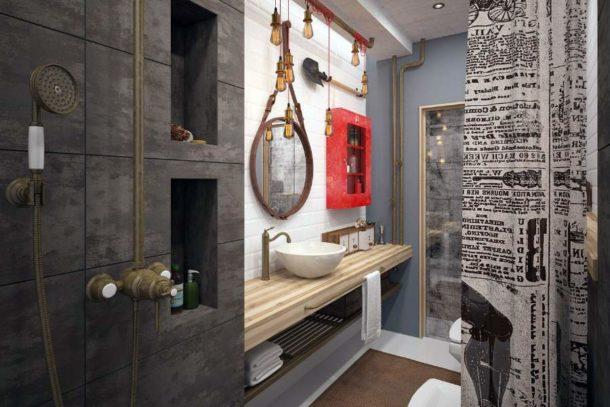 В ванной в стиле лофт могут присутствовать самые неожиданные предметы
