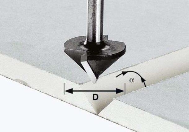 V-образный паз в листе гипсокартона