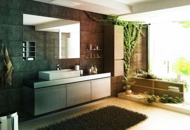 Ванная модерн с зелеными растениями