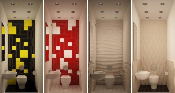 Варианты оформления стен в маленьком туалете с белой сантехникой