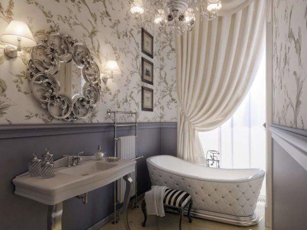 Использование влагостойких обоев в интерьере ванной