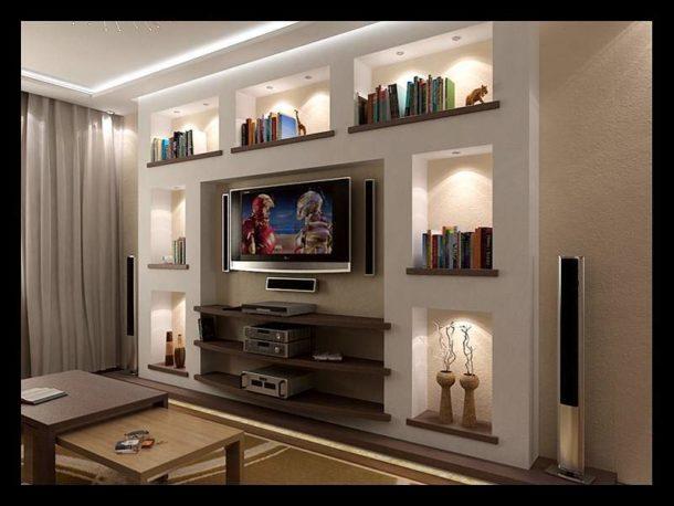 Телевизионная ниша имеет как декоративное, так и практическое применение