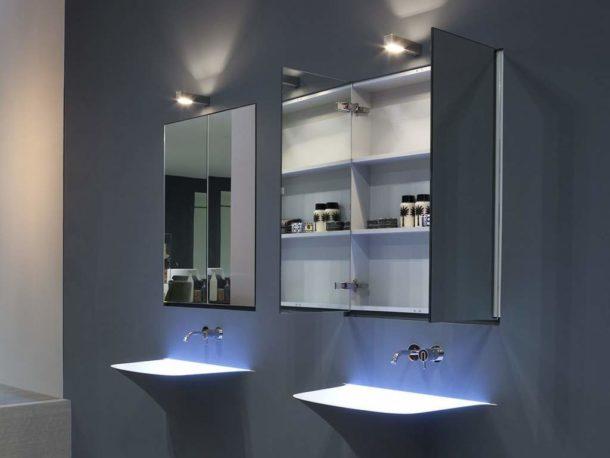 Неглубокие зеркальные шкафчики
