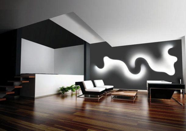 Холодное освещение в ультрасовременной гостиной