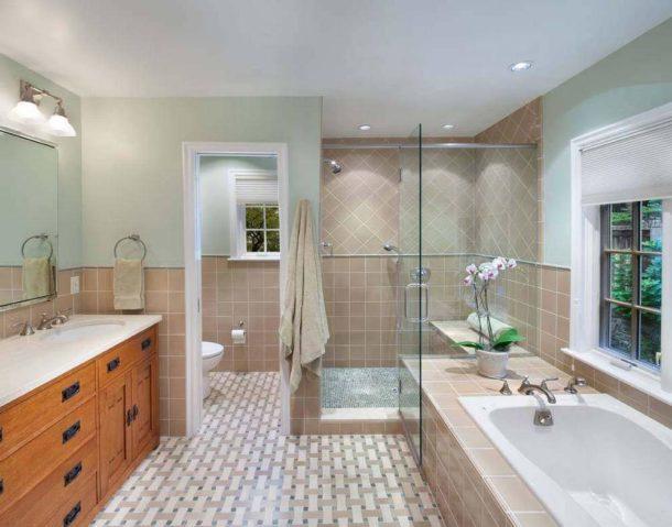 Одинаковая отделка в ванной и туалете