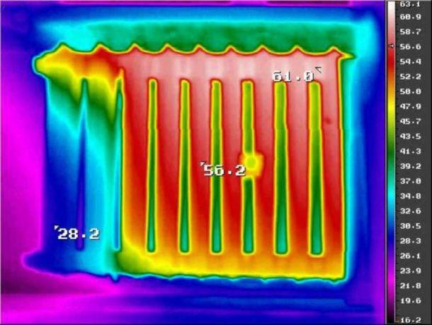 Завоздушенный радиатор на тепловизоре