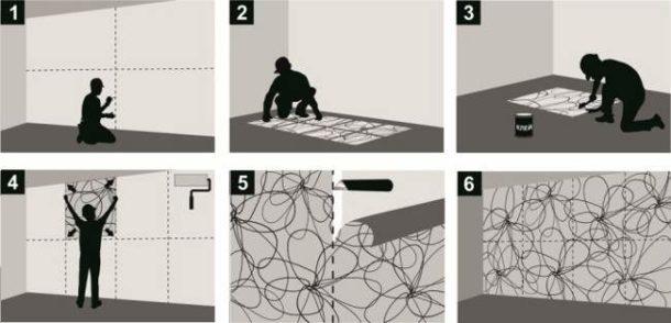 Разметка стены под фотообои