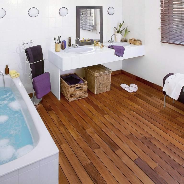 Wood floors in bathroom
