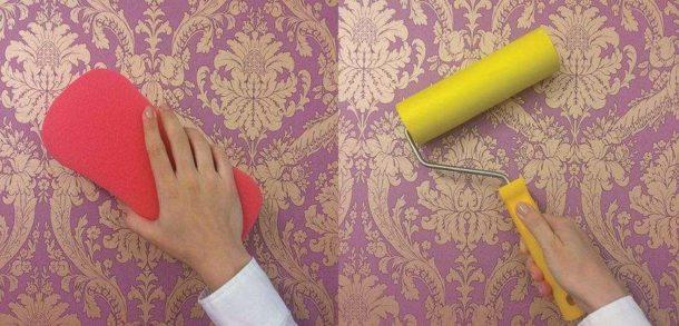 Валик для разглаживания полотна и губка для удаления излишков клея