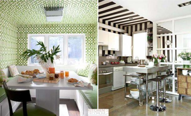 Варианты оформления потолочной поверхности на кухне