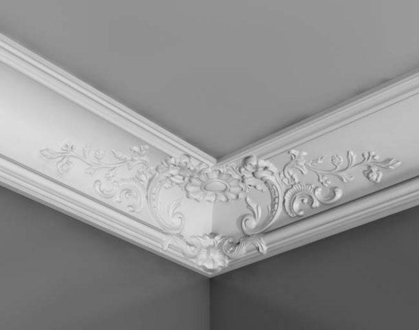 Фигурный потолочный фриз с имитацией лепнины