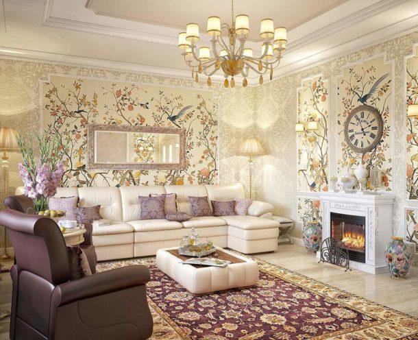 Сочетание обоев и интерьера гостиной
