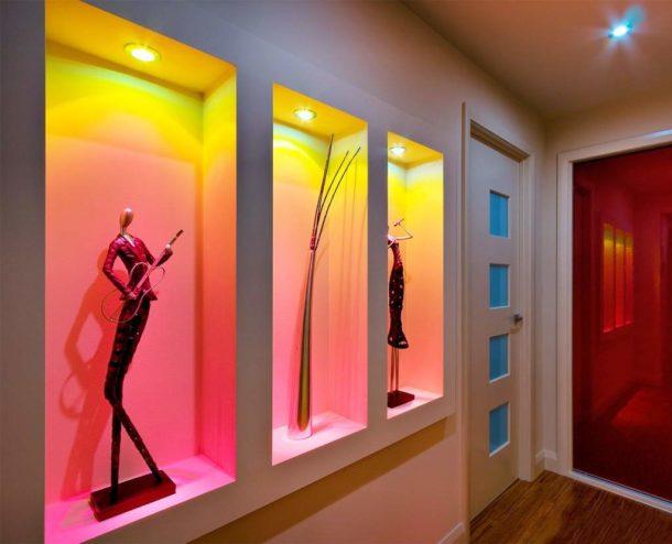 Декоративная конструкция отрытого типа с подсветкой