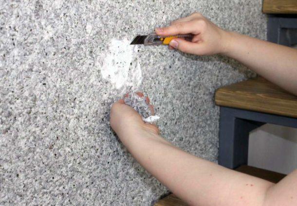 Счищаем материал с поврежденного участка