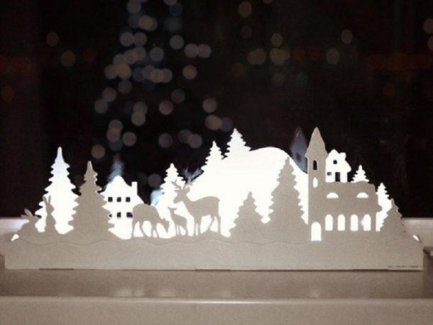Новогоднее украшение на подоконнике