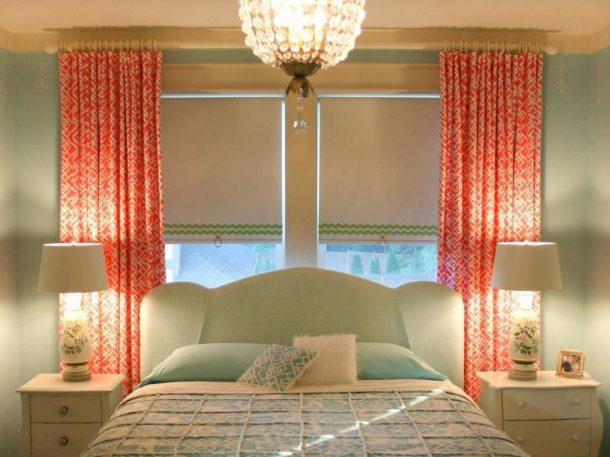 Тканевые ролеты в спальне