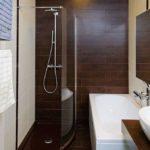 Санузел с миниатюрной душевой кабинкой и ванной