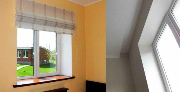 Окна, оформленные с помощью гипсокартона