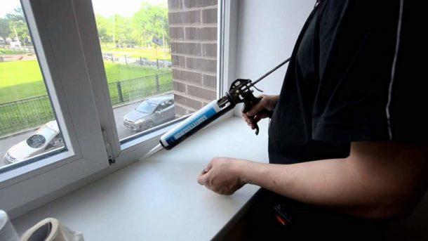 Нанесение герметика с помощью пистолета