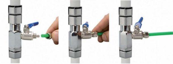 Подключение трубки подачи воды