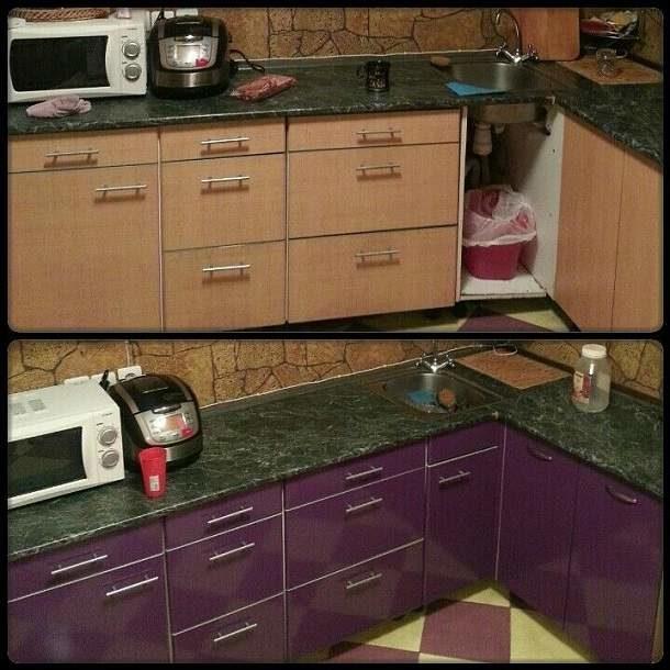 Как можно отреставрировать кухонный гарнитур своими руками фото до и после 12