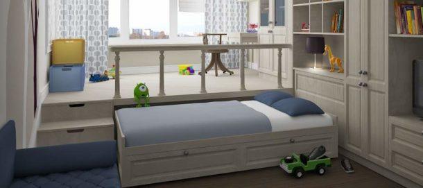 Подиум с рабочим местом и выкатной кроватью