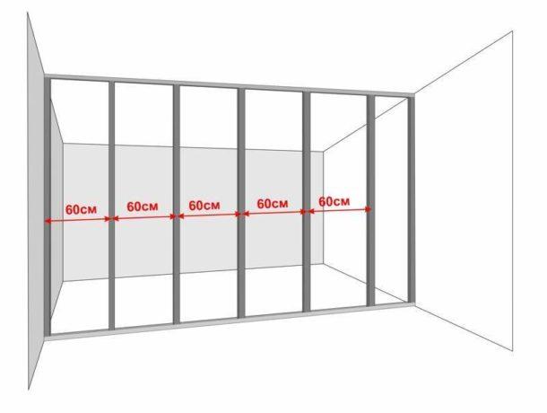 Схема каркаса для перегородки или стены